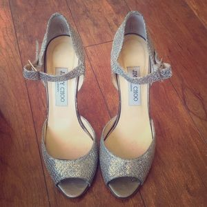 Jimmy choo glitter champagne heels